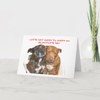 Cheek to Cheek Staffy Valentine Holiday Card