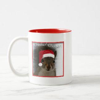 Cheeker Cheeker Cute jolly Santa Squirrel™ Two-Tone Coffee Mug