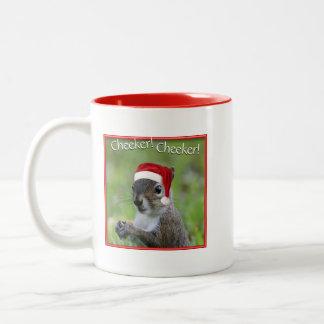 Cheeker Cheeker jolly Florida Santa Squirrel™ Two-Tone Coffee Mug