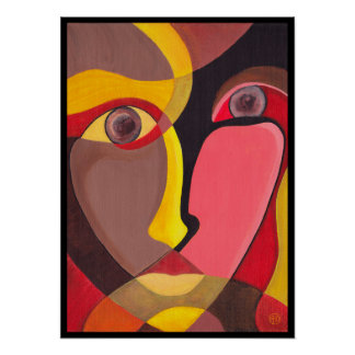 Cheeky Abstract Woman Face Art Print