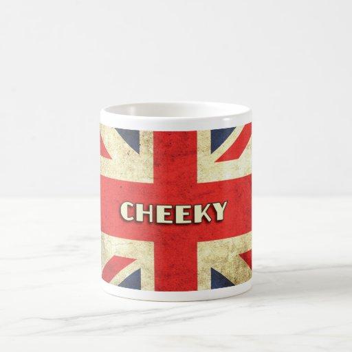 Cheeky  British Slang on Union Jack Coffee Mug