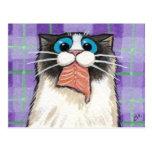 Cheeky Cat Eating Salmon Postcard