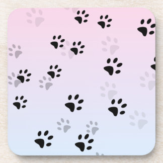 Cheeky Cat Footprints Pink and Blue Coaster