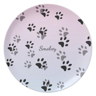 Cheeky Cat Footprints Template Melamine Plate
