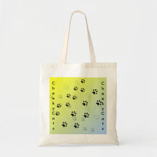 Cheeky Cat Footprints with Yellow Background Tote Bag