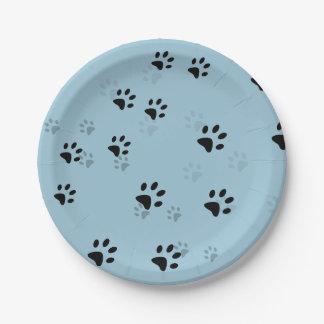 Cheeky Cats Footprints Blue Paper Plate
