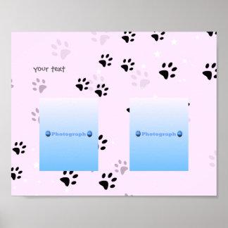 Cheeky Cats Footprints Pink (add photographs) Poster