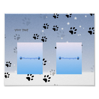 Cheeky Cats Footprints with Snow (add photographs) Poster