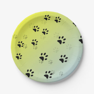 Cheeky Cats Footprints with Yellow Background Paper Plate