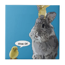 Cheeky Chick Easter Bunny Cartoon Ceramic Tile