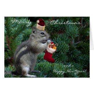 Cheeky Christmas Chipmunk Greeting Card