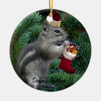 Cheeky Christmas Chipmunk Ornament