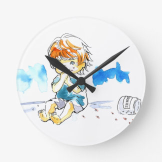 Cheeky Cookie Eater Colour Round Clock