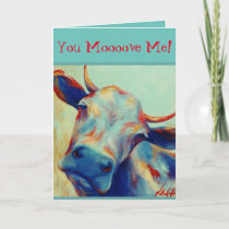 Cheeky Cow Valentine Card VCollierArt
