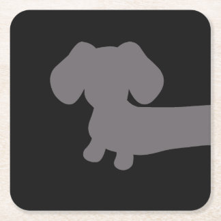 Cheeky Dachshund Square Drink Coaster