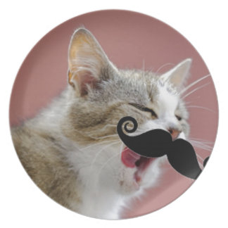 Cheeky Ginger Tabby Cat with Tongue Out & Mustache Dinner Plate