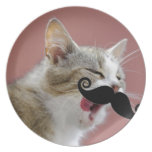 Cheeky Ginger Tabby Cat with Tongue Out & Mustache Plates