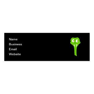 Cheeky Green Snake Cartoon on Black Mini Business Card