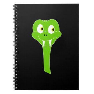 Cheeky Green Snake Cartoon on Black Spiral Notebooks