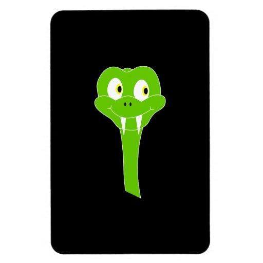 Cheeky Green Snake Cartoon on Black Rectangular Photo Magnet