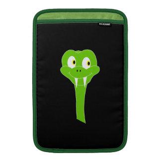 Cheeky Green Snake Cartoon on Black Sleeve For MacBook Air