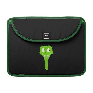 Cheeky Green Snake Cartoon on Black Sleeves For MacBook Pro