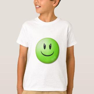 CHEEKY HAPPY MISCHEVIOUS GREEN SMILIE FACE CARTOON T-Shirt