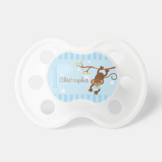 Cheeky Monkey Blue Stripes 1st Birthday Pacifier