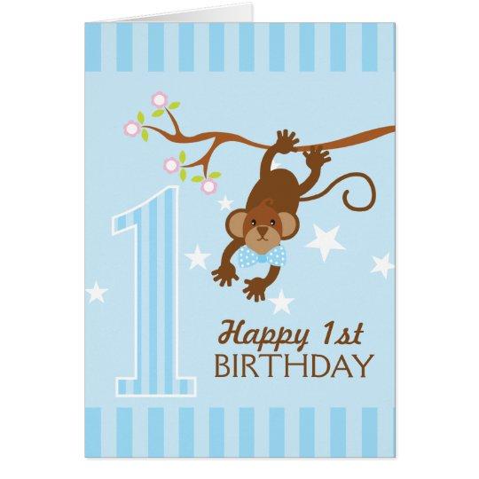 Cheeky Monkey Blue Stripes Happy 1st Birthday Card – Happy 1st Birthday Card