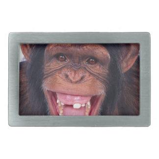 cheeky monkey chimp chimpanzee wild animal rectangular belt buckle