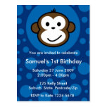 Cheeky Monkey Invitation [blue] Post Card