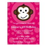 Cheeky Monkey Invitation [pink] Post Cards