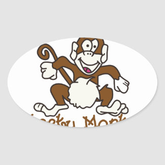 Cheeky Monkey Oval Sticker