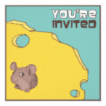 "Cheeky Mouse Birthday Party Invitation 5.25"" Square Invitation Card"