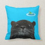 cheeky otter funny aqua blue pilow cushion throw pillow