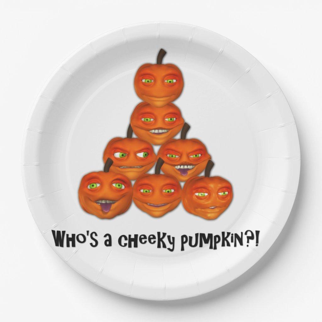 Cheeky Pumpkin Halloween Paper Plate
