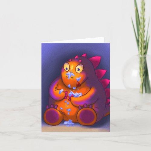 Cheeky Stegosaurus Eating Cake Birthday Card
