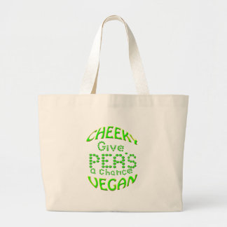cheeky vegan give peas a chance large tote bag