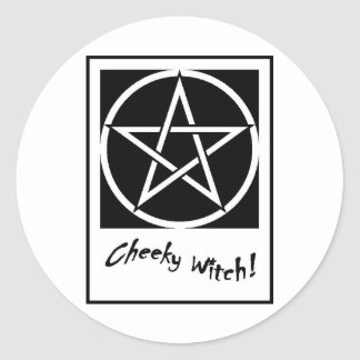 Cheeky Witch Pentagram Collection (Black & White) Classic Round Sticker