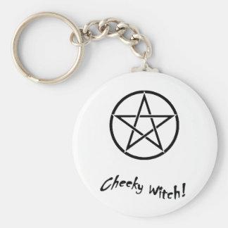 Cheeky Witch Star Collection (Black & White) Basic Round Button Keychain