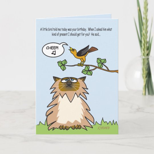 Funny Birthday Card With Himalayan Cat