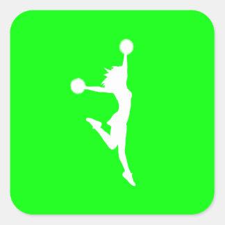 Cheer 2 Silhouette Sticker Green
