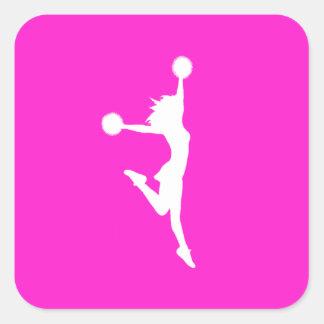 Cheer 2 Silhouette Sticker Pink