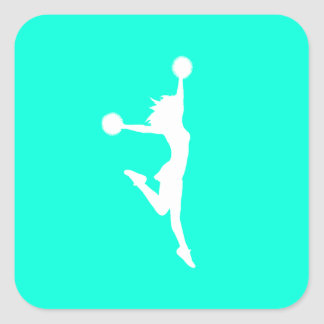 Cheer 2 Silhouette Sticker Turquoise