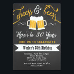 """Cheer and Beers Birthday Party Invitation for Men<br><div class=""""desc"""">Color can be changed. Matching party items also available! Email seasidepapercompany@gmail.com for more info Some clipart designed by freepik.com</div>"""