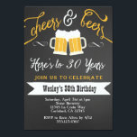 "Cheer and Beers Birthday Party Invitation for Men<br><div class=""desc"">Color can be changed. Matching party items also available! Email seasidepapercompany@gmail.com for more info Some clipart designed by freepik.com</div>"