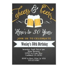 Cheer And Beers Birthday Party Invitation For Men at Zazzle