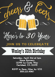 Mens 30th birthday party invitations announcements zazzle cheer and beers birthday party invitation for men filmwisefo Image collections