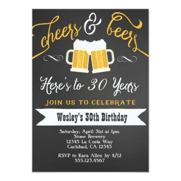 seasidepapercompany Cheer and Beers Birthday Party Invitation for Men