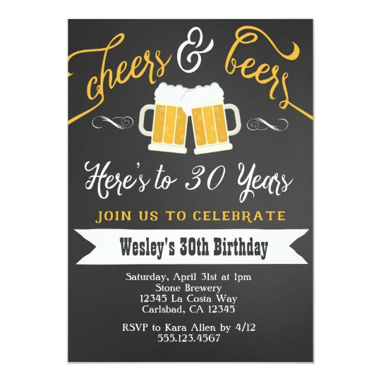 Cheer and Beers Birthday Party Invitation for Men Zazzlecom